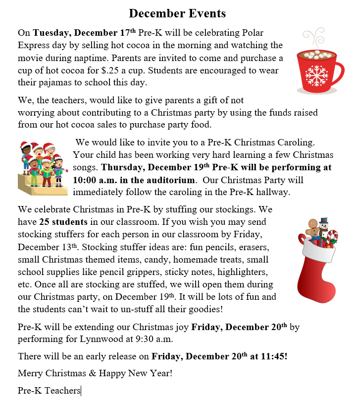 Pre-K December Events