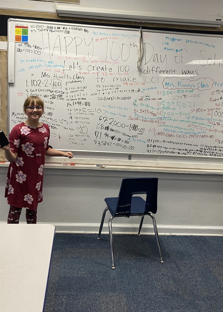 For the 100th Day of school, the 5th graders came up with y'all 100 different ways to create 100 with a Math equation!