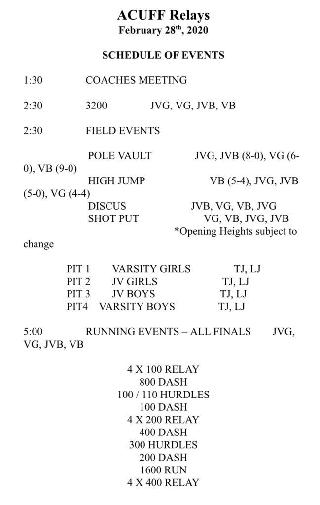 The meet schedule for Friday.